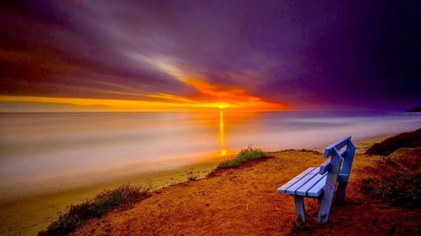 Lonely Bench On A Seashore At Sunset HD Desktop Background